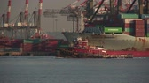 cargo container : ELIZABETH, NJ - JUNE 21: Tugboat Ellen McAllister heads south in Newark Bay past the Maher Terminals facility in the Port Newark-Elizabeth Marine Terminal on June 21, 2013 in Elizabeth, New Jersey. Stock Footage