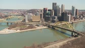 pittsburgh : A view of the downtown area including the skyline, bridges, and Point State Park at the confluence of the Allegheny and Monongahela Rivers in Pittsburgh, Pennsylvania.