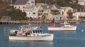 çapa : STONINGTON, ME - OCTOBER 6: Lobster boats sit at anchor in Stonington harbor on October 6, 2013 in Stonington, Maine.