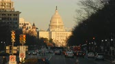 pennsylvania : WASHINGTON - MARCH 23: Traffic flows on Pennsylvania Avenue, with the US Capitol building in the background on March 23, 2017 in Washington, DC. Stock Footage