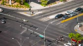 PARADISE, NV - AUGUST 8: (Time-lapseZoom-in) Vehicular traffic and pedestrians pass through an intersection on Las Vegas Boulevard (The Strip) in Paradise (Las Vegas), Nevada in a tilt-shift miniature effect view on August 8, 2017 in Paradise Stock Footage