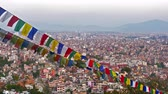 manzara : 4K Video Cityscape view of Kathmandu city Nepal Stok Video