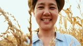 working parents : Asian woman enjoying in the corn field, Slow motion shot