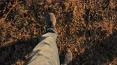 bois : 4K POV of feet walking on the ground in slow motion