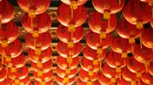 китайский квартал : 4K Chinese paper lanterns in the temple for worship in Chinese new year celebration