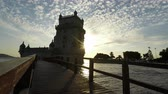 belem : LISBON, PORTUGAL - CIRCA OCTOBER 2018: scenic sunset at the tower of Belem Stock Footage