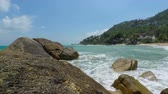 tropical coral beach on koh samui Stockvideo