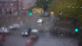 condensação : Rainy day on the street, view from the window