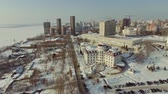 megalopolis : top aerial view winter city