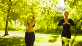 viraj : Yoga. Two attractive woman doing yoga exersices in the park
