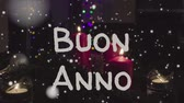 kerst huis : Animation Buon Anno - Happy New Year in italian, white letters and red candles
