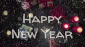 kerst huis : Animation Happy New Year, female hand holding a sparkler