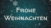 floco de neve : Animation Frohe Weihnachten - Merry Christmas in german, falling snow, blue background