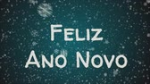 floco de neve : Animation Feliz Ano Novo - Happy New Year in portuguese language, greeting card