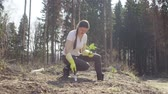 conservar : Young activist plants a small fir-tree Stock Footage