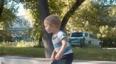 plachý : Kid jumping on the trampoline.