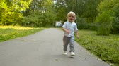 kinderen lopen : Crying toddler on the road Stockvideo