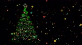 magia : Christmas colorful bokeh lights with xmas tree on night sky background. Holiday season video card or screensaver. Copy space footage intro, 4k animation. Vídeos