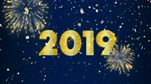номер : Gold New Year 2019 motion graphics animation with firework explosion and confetti. Elegant golden celebration video card for party night event. 4k greeting holiday footage.