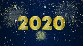 Happy New Year 2020 intro animation of gold fireworks explosion on holiday eve night sky. Video greeting card or celebration party invitation footage in 4k 影像素材