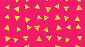 Abstract 80s geometric background animation with colorful triangle shapes in retro style. Seamless loop pop art 4k footage. 影像素材