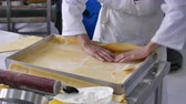 dezert : Baker preparing pastry base for pie