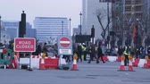 signage : Construction and road closure at Big Ben and westminster Stock Footage