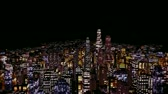 city lights : Flying above City at Night Stock Footage