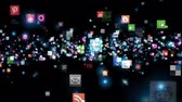 web design : Social Network Icons flying, black
