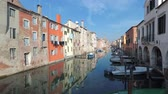 швартовка : View of the city of Chioggia, Italy, the little Venice. A characteristic town in northern Italy, visited by tourists from all over the world Стоковые видеозаписи