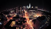 de canto : New York City Manhattan panorama cityscape skyline. Nightshot from Hotel WIndow. Timelapse.