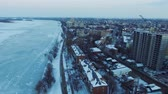 flat roof : The embankment of the winter river Stock Footage