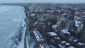 street photography : Panorama of the winter city Stock Footage