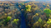 The rise over the autumn road Stock Footage