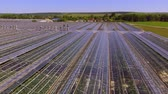 fruit vegetable : Flying back over the roofs of the greenhouses Stock Footage