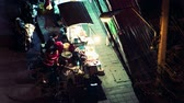 vintage : Time-lapse of a Thai ladys food stall over a few minutes span of time