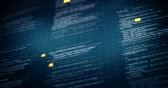 html : Program code close-up in dark blue background with shallow DOF featured thin crosses and dots textures with orange particles seamless loop animation