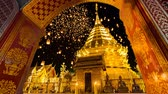loi krathong : Wat Phra That Doi Suthep And Many Sky Fire Lantern Background Famous Temple of Chiang Mai, Thailand Stock Footage