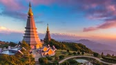 doi inthanon : Pra MA Ha Tat Noppamethanedon and Pra MA Ha Tat Nopphonphusiri The Great Holy Relics Pagoda Of Doi Inthanon National Park Chiang Mai, Thailand pan shot
