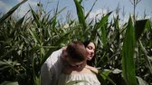 ezmek : Loving couple each other standing in a corn field hugging and kissing. Stok Video