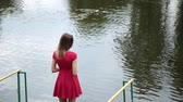 collie : A very beautiful girl in a red dress is standing on a pier near a small lake.