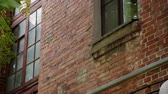 chicago : Windows of an old brick house on a sunny day. Stock Footage