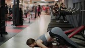 torsos : Athletic woman doing hyperextension in the gym.