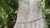 White wedding dress hanging on a green tree, white bridesmaid dress hanging among the branches of a tree.