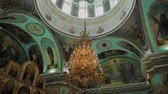 avize : Big bronze chandelier in cathedral christian church.