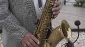 sax : Saxophonist musician playing saxophone or sax at the concert or party.