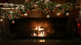 Fireplace with Decorations Стоковые видеозаписи