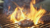 beef burger : Grilled Burgers BBQ , slow motion