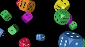 Rainbow Color Dice Falling Стоковые видеозаписи