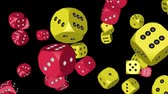 Red and Yellow Color Dice Collided